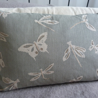 hand printed and embroidered muted eau de nil butterfly and dragonfly cushion