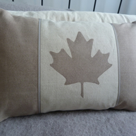 hand printed muted taupe Canadian flag cushion