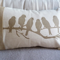 hand printed natural little birds on branch cushion