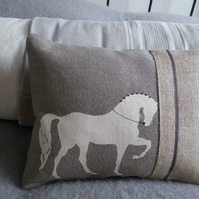 hand printed cotton linen mink dressage horse cushion