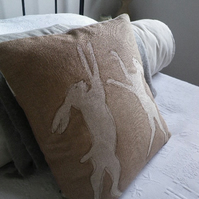 hand printed taupe linen boxing hares cushion