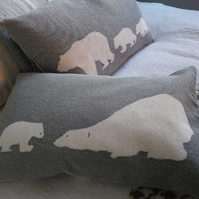 handprinted snow cloud grey polar bear and cub cushion