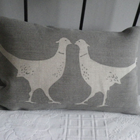 hand printed kissing pheasants cushion