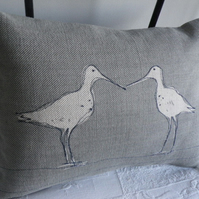 hand printed muted  grey wading bird pair cushion
