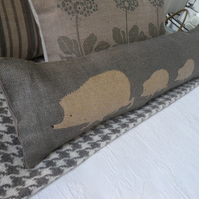 hand printed reversible hedgehog family bolster excluder