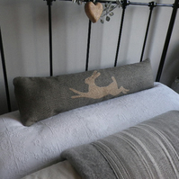 hand printed reversible natural triptyque hare bolster,excluder