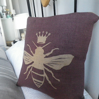 hand printed mulberry queen bee cushion