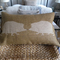 handprinted golden brown hedgehog pair cushion