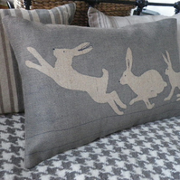 hand printed blue grey triptyque hare cushion