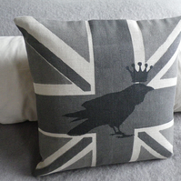 hand printed greys royal raven union jack cushion