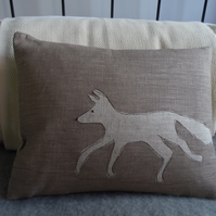 hand printed mink little fox cushion
