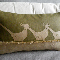 hand printed triple  olive pheasant cushion