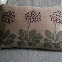 hand printed auricular flower cushion