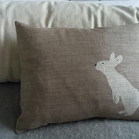 Hand printed reversible litte mink rabbit cushion