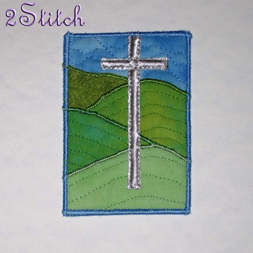 ACEO 'Cross on the Hill' - Applique & free-motion quilted artwork