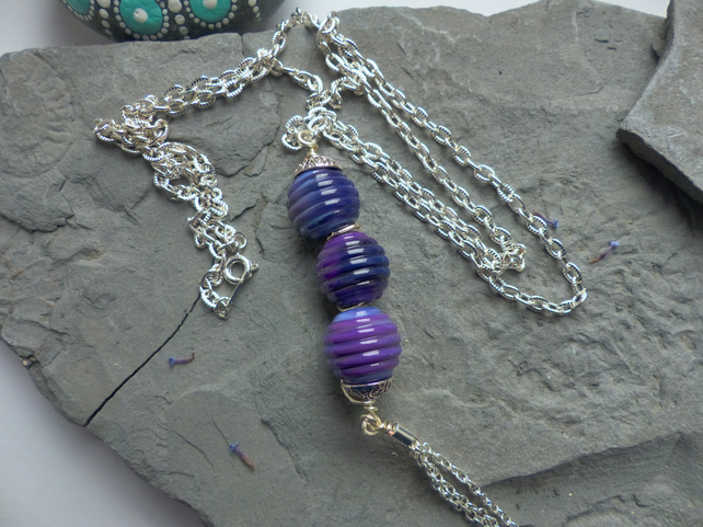 Long Tassel Necklace Lilac