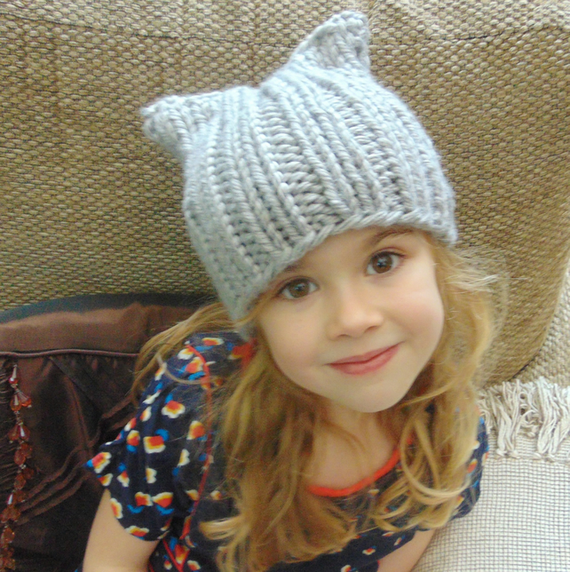 Grey Childs Cat Beanie Hat