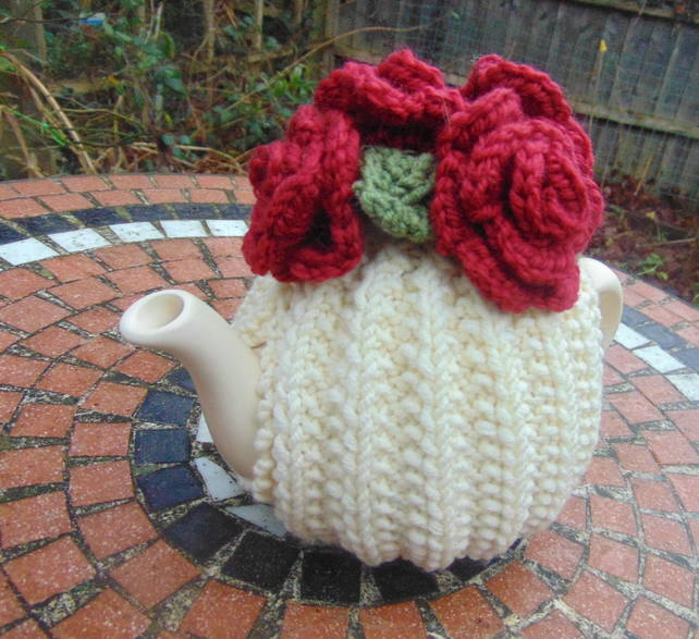 Hand Knitted Rosa Small Tea Cosy