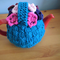 Hand Knitted flower basket Small Tea Cosy