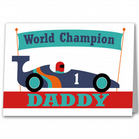 Personalised Racing Car Fathers Day Card for Dad, Daddy or Step Dad