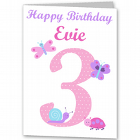 Girls Pretty Personalised Card for 1st, 2nd, 3rd, 4th, 5th, 6th  Birthday