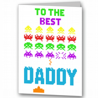Personalised Space Invaders Father's Day Card.