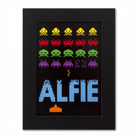 Childrens Space Invaders Personalised Door Name Print.