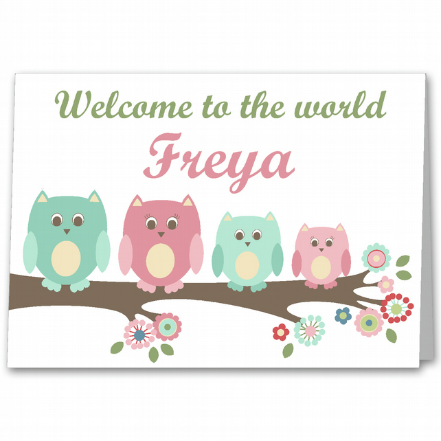 personalised owl new baby girl birth congratulations card