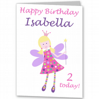 Girls Fairy Personalised Birthday Card. for 1st, 2nd, 3rd, 4th, 5th etc