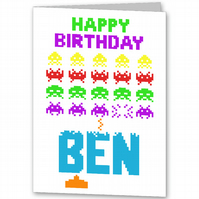 Space Invaders Personalised Birthday Card,  Brother, Dad, Son, Daddy