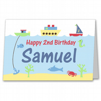 Any Age Boys Personalised Boats Birthday Card for 1st, 2nd, 3rd, 4th, 5th