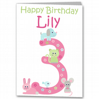 Personalised Girls Animal Birthday Card 1st, 2nd, 3rd, 4th, 5th 6th 7th