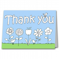 Childrens Colour your own Thank you Card for Teacher or Relative
