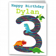 Dinosaur Birthday Card, Childrens, Boys 1st, 2nd, 3rd, 4th, 5th, 6th