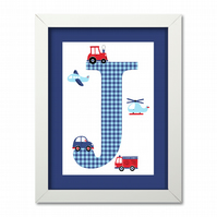 Boys Transport Personalised Nursery Print