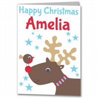 Personalised Reindeer Childrens Christmas Card for Son, Daughter, Nana, Grandad