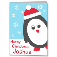Personalised Penguin Childrens Christmas Card.
