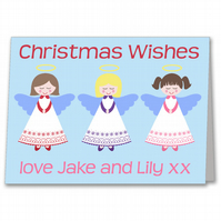 Personalised Angel Girls Christmas Card.