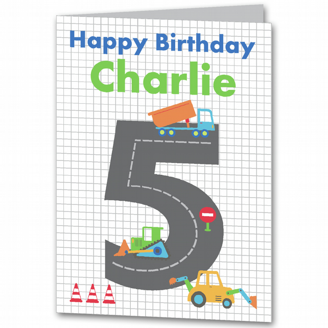 Boys Digger Personalised Birthday Card 1st, 2nd, 3rd, 4th, 5th, 6th 7th
