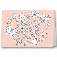 Colour your own Mother's Day Card - Lovely Mummy