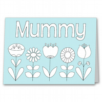 Colour your own Mother's Day Card, Kids, Childrens Colouring Card