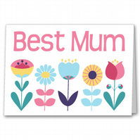 Personalised Floral Mother's Day Card, Best Mum, Special Step Mum