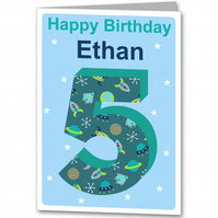 Space Birthday Card, Personalised Children's 3rd, 4th, 5th, 6th, 7th, 8th,