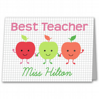 Personalised Teacher, Key worker or Nursery Staff Apple Thank you Card.
