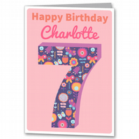 Personalised Girls Birthday Card 3rd 4th 5th 6th 7th 8th 9th,