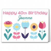 Personalised Floral Birthday Card, Female 21st, 30th, 40th, 50th, 60th, 70th