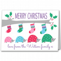 Personalised Hedgehog Christmas Card for Grandparents, Friends or Family