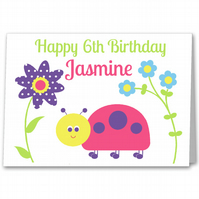 Personalised Girls Ladybird Birthday Card 1st, 2nd, 3rd, 4th, 5th, 6th, 7th, 8th