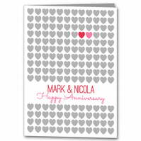 Personalised Wedding Anniversary card, Modern Heart Congratulations Card