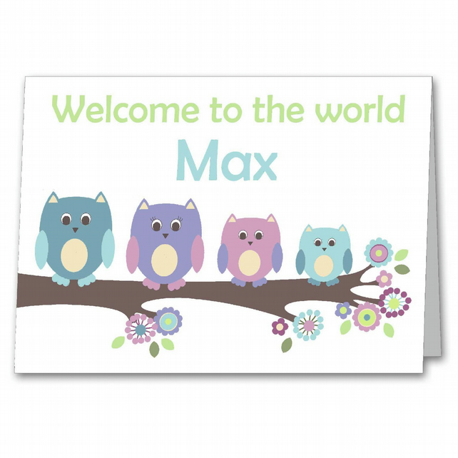 personalised owl new baby boy card birth congratulations card twin baby card